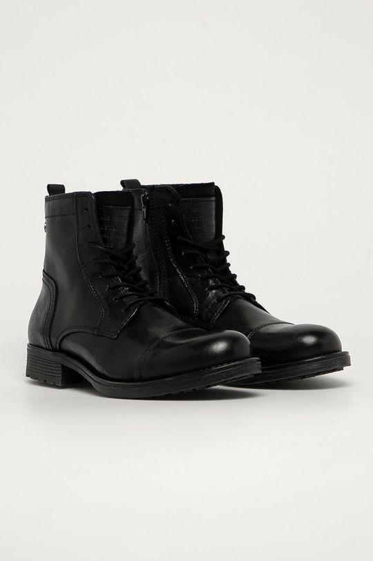 Mustang - Kožené boty černá