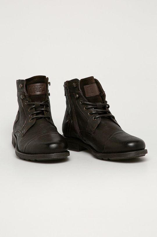 Levi's - Pantofi inalti de piele maro inchis