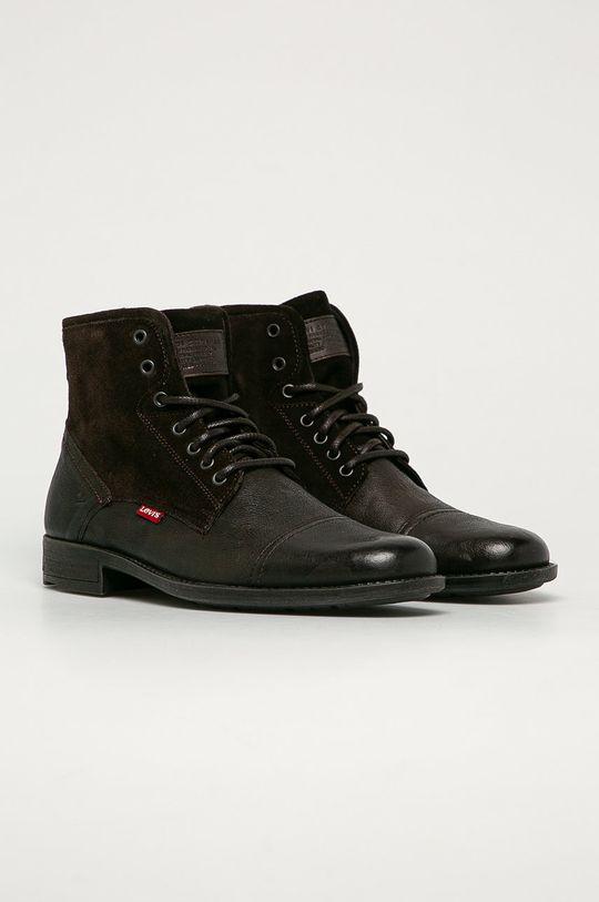 Levi's - Kožená obuv tmavohnedá