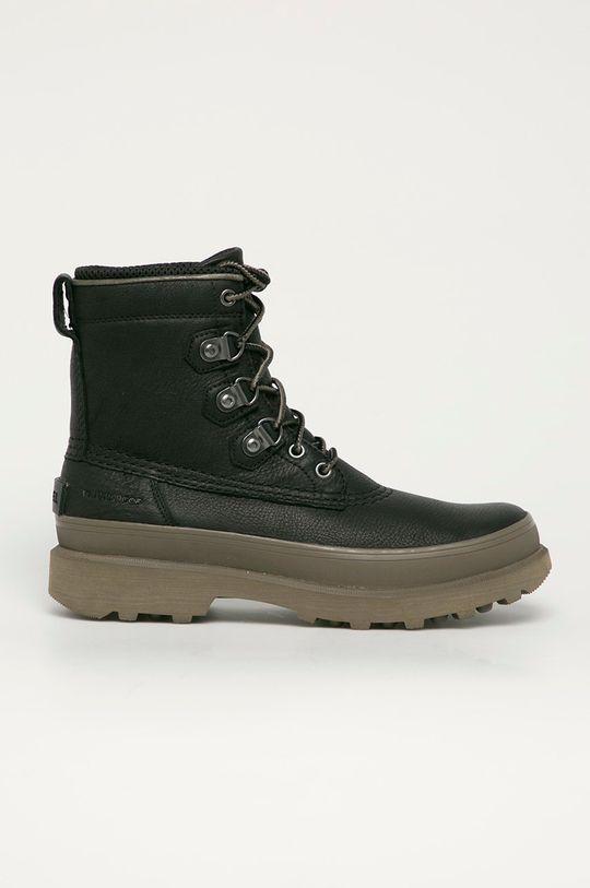 čierna Sorel - Kožená obuv Caribou Street WP Pánsky