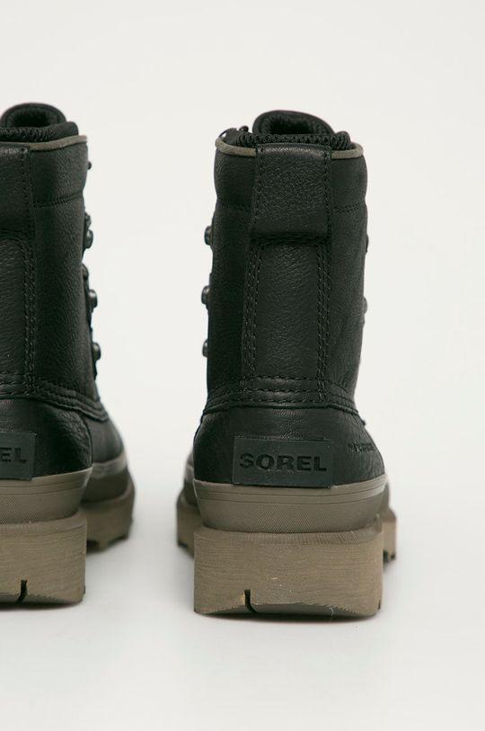 čierna Sorel - Kožená obuv Caribou Street WP