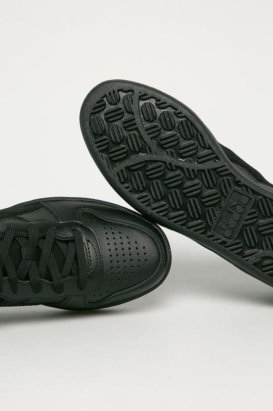 černá Diadora - Kožené boty Mi Basket Low