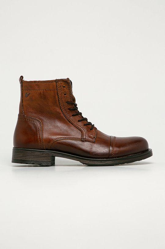 hnedá Jack & Jones - Kožené topánky Pánsky