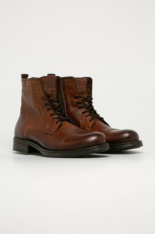 Jack & Jones - Kožené topánky hnedá