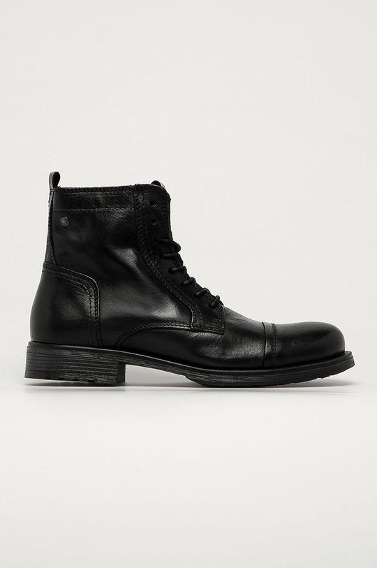 čierna Jack & Jones - Kožená obuv Pánsky