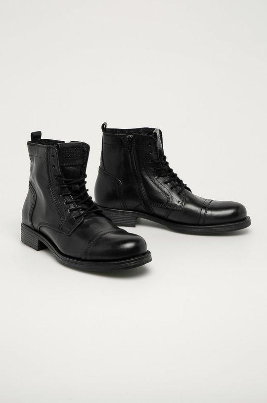Jack & Jones - Kožená obuv čierna