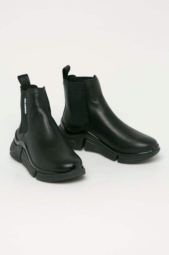 Karl Lagerfeld - Kožené kotníkové boty černá