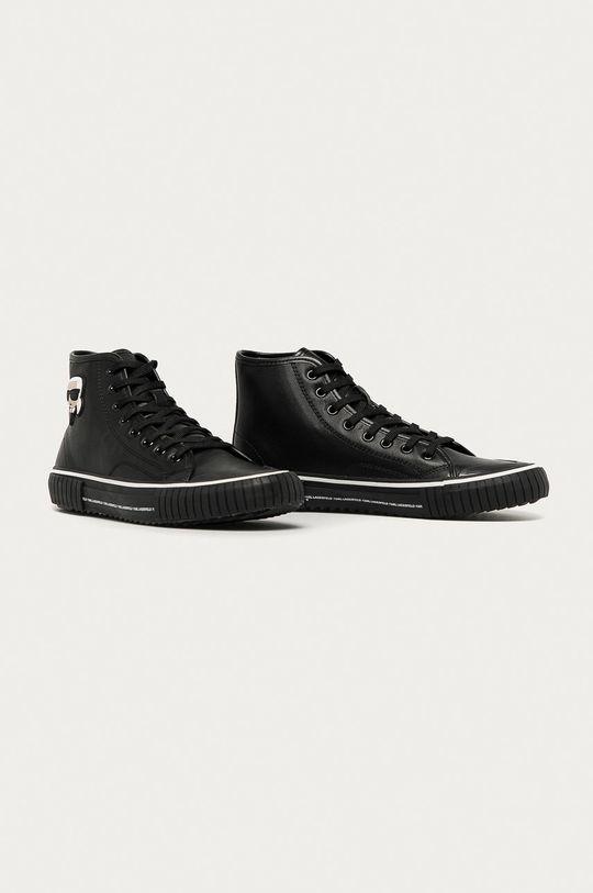 Karl Lagerfeld - Kožené kecky černá
