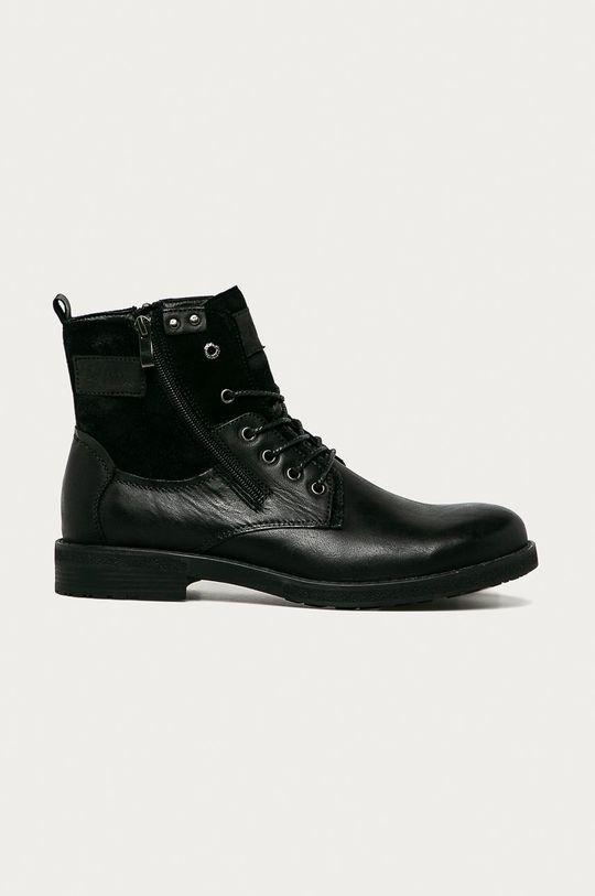 černá Lee Cooper - Kožené boty Pánský