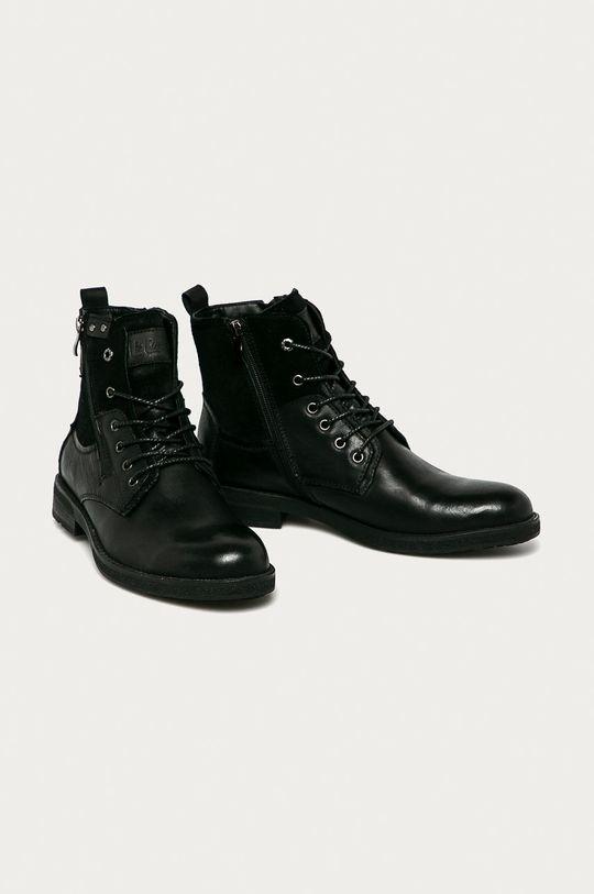 Lee Cooper - Kožené boty černá