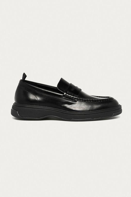 czarny Calvin Klein - Mokasyny skórzane Męski