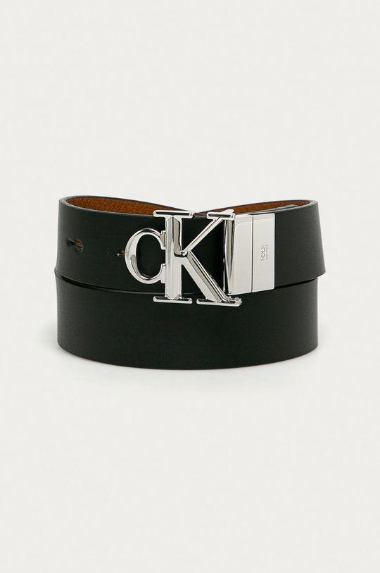 czarny Calvin Klein Jeans - Pasek skórzany dwustronny Damski