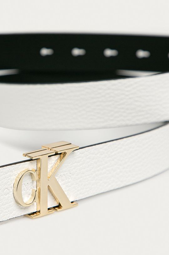Calvin Klein Jeans - Kožený opasok biela