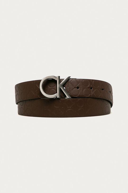 Calvin Klein - Obojstranný kožený opasok čierna
