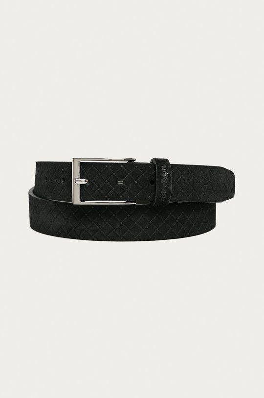 černá Strellson - Kožený pásek Pánský