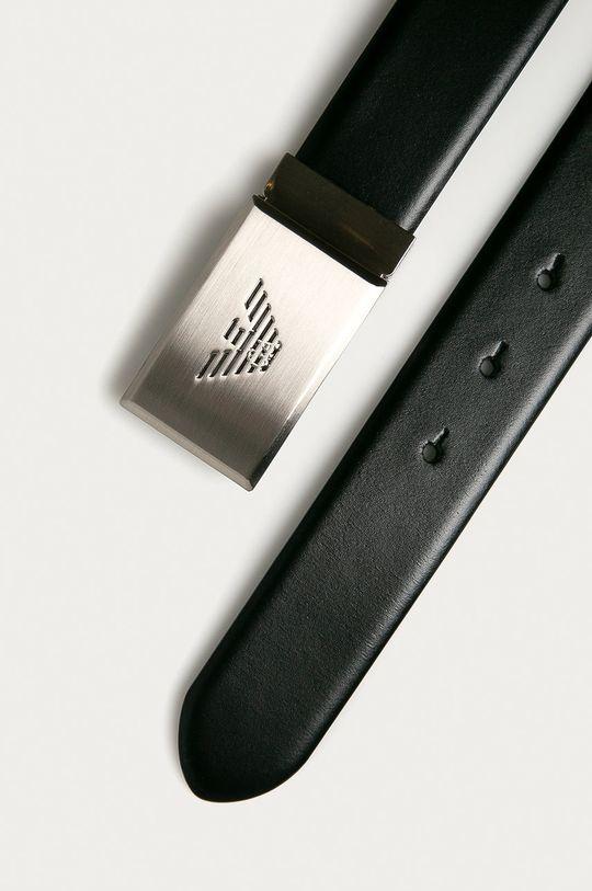 Emporio Armani - Kožený opasok čierna