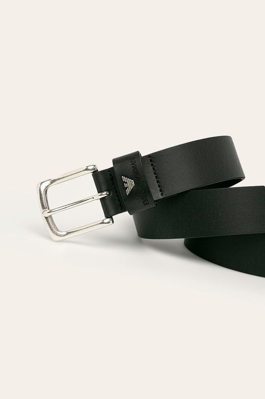 Emporio Armani - Kožený pásek černá
