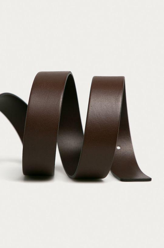 Hugo - Pasek skórzany ciemny brązowy