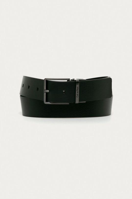 čierna Calvin Klein - Obojstranný kožený opasok Pánsky