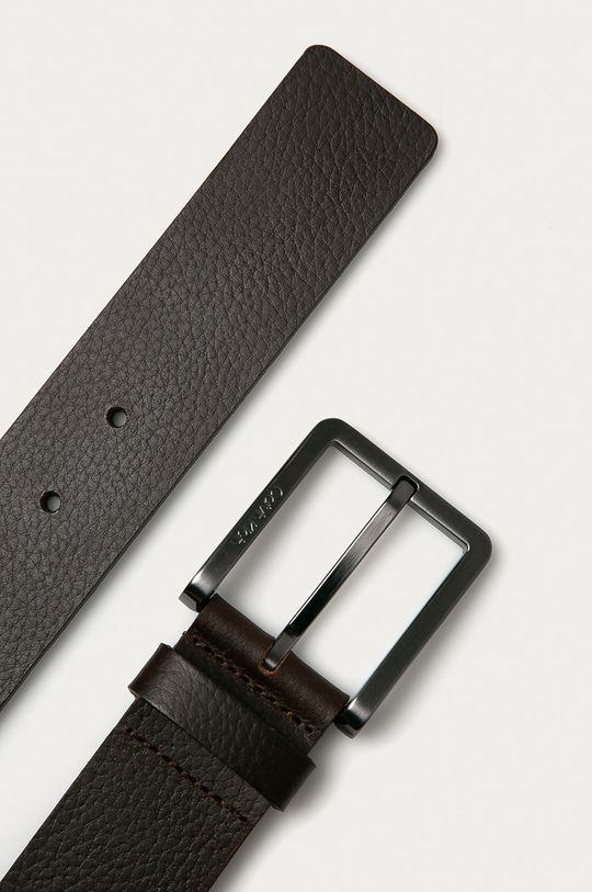 Calvin Klein - Kožený opasok tmavohnedá