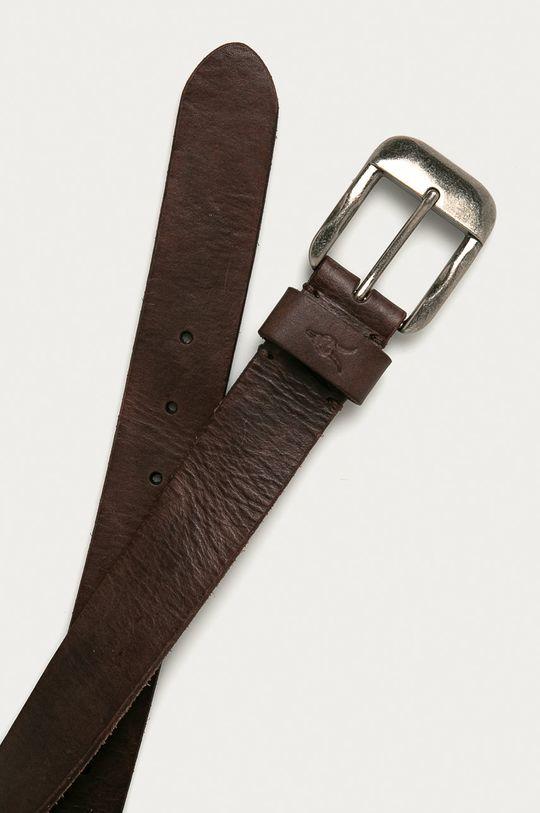 AllSaints - Pasek skórzany ciemny brązowy