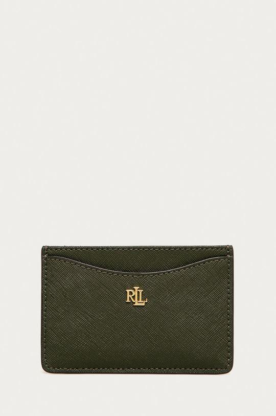 olivová Lauren Ralph Lauren - Kožená peňaženka Dámsky
