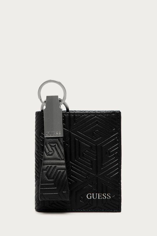 čierna Guess Jeans - Kožená peňaženka + kľúčenka Pánsky