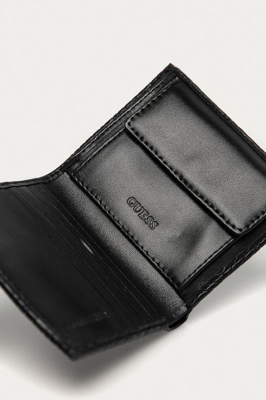 Guess Jeans - Kožená peňaženka + kľúčenka čierna