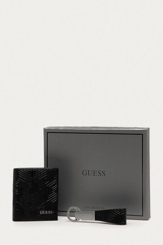 čierna Guess Jeans - Kožená peňaženka + kľúčenka