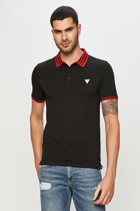 černá Guess Jeans - Polo tričko Pánský