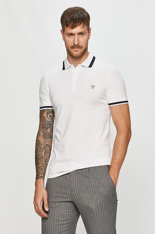 bílá Guess Jeans - Polo tričko Pánský
