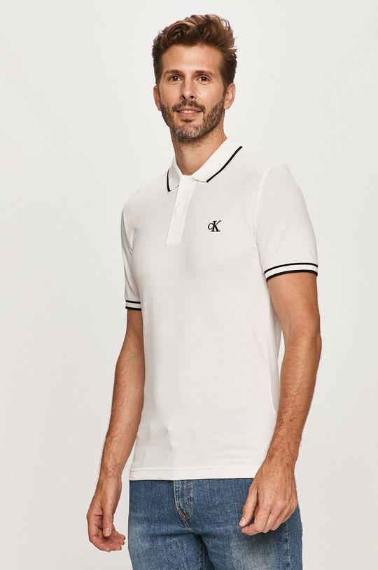 biela Calvin Klein Jeans - Polo tričko Pánsky