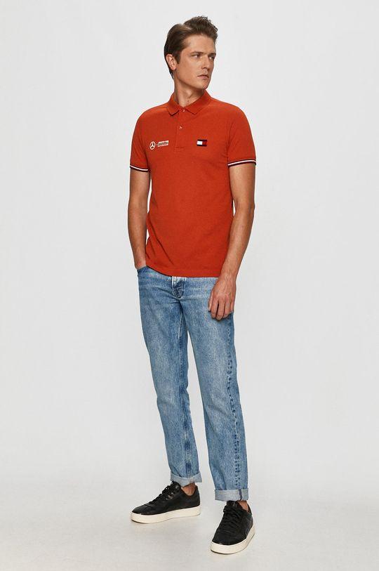 Tommy Hilfiger Tailored - T-shirt x Mercedes pomarańczowy