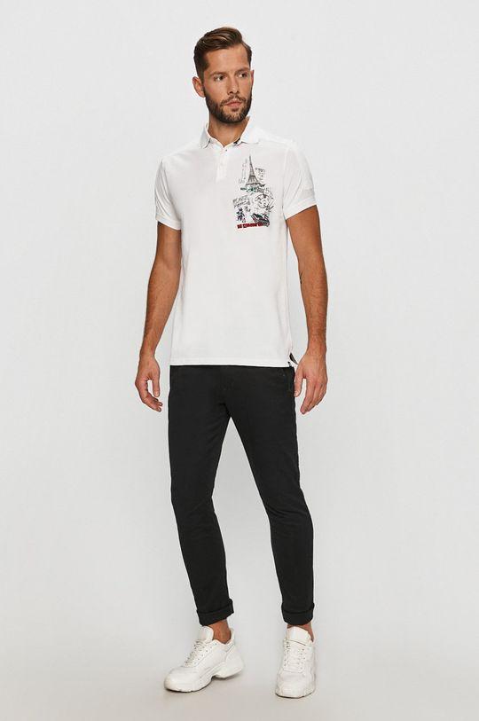 Desigual - Tricou Polo alb