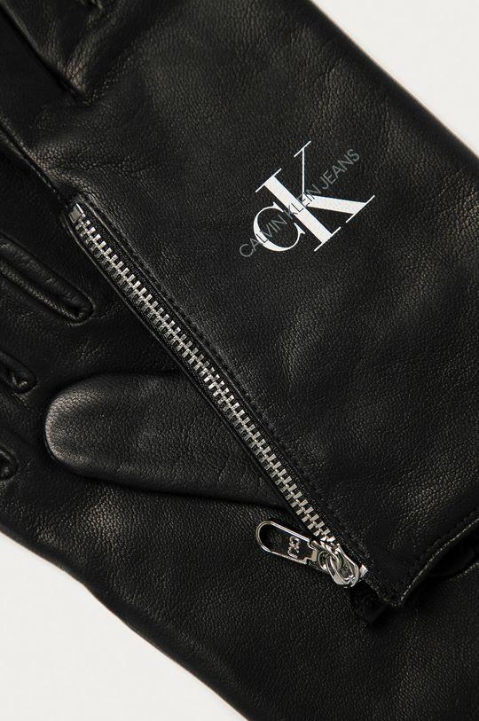 Calvin Klein Jeans - Kožené rukavice čierna