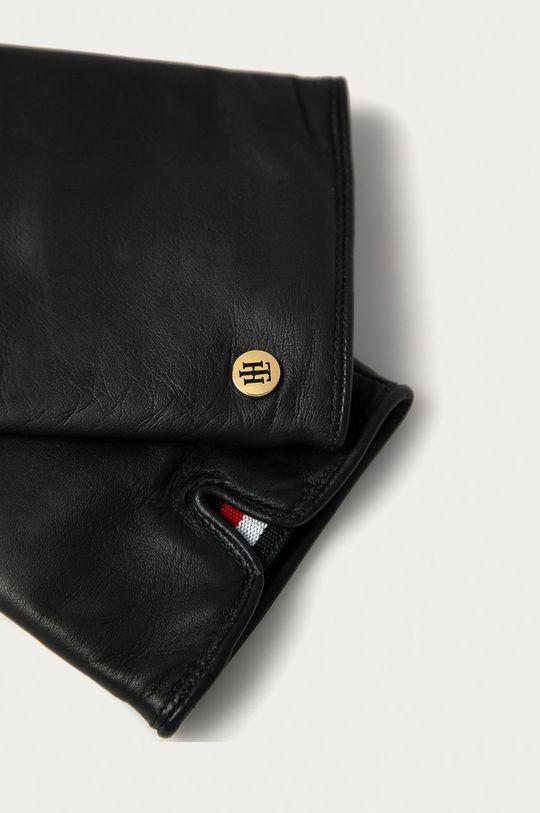 Tommy Hilfiger - Kožené rukavice čierna