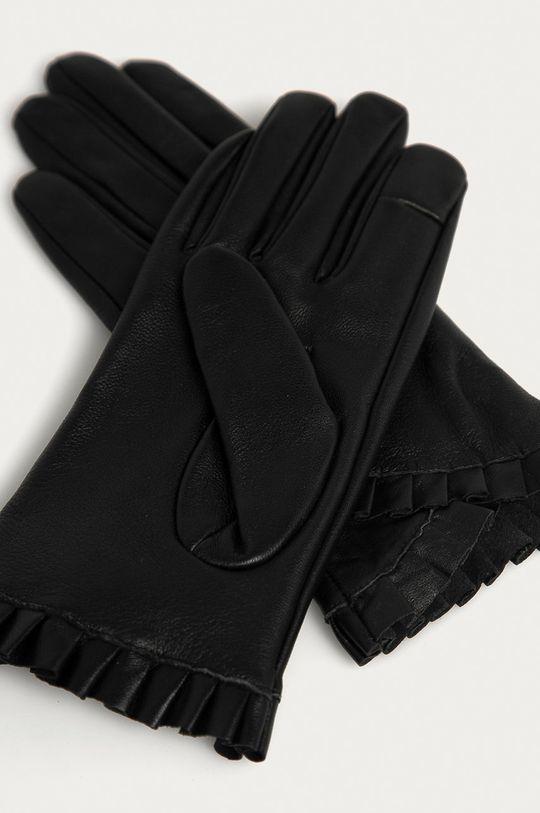 Pieces - Kožené rukavice čierna