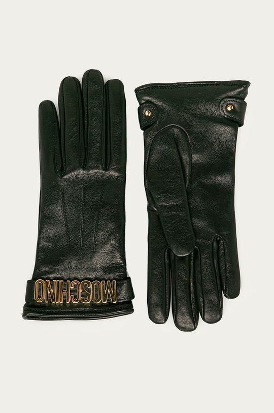 čierna Moschino - Kožené rukavice Dámsky
