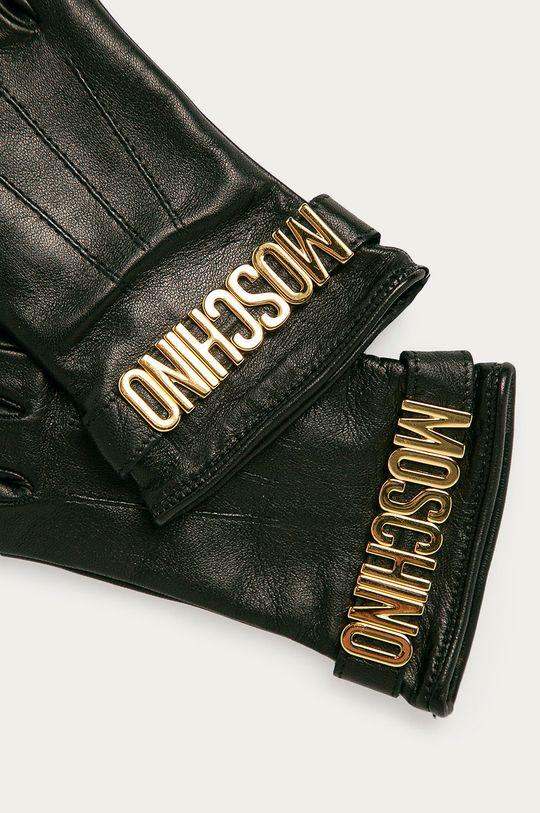 Moschino - Kožené rukavice čierna