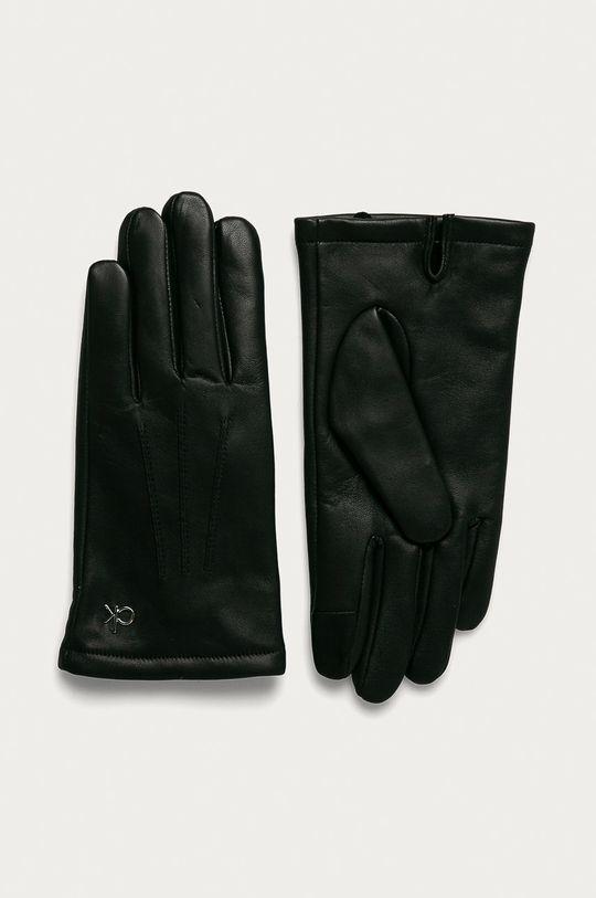 černá Calvin Klein - Kožené rukavice Pánský
