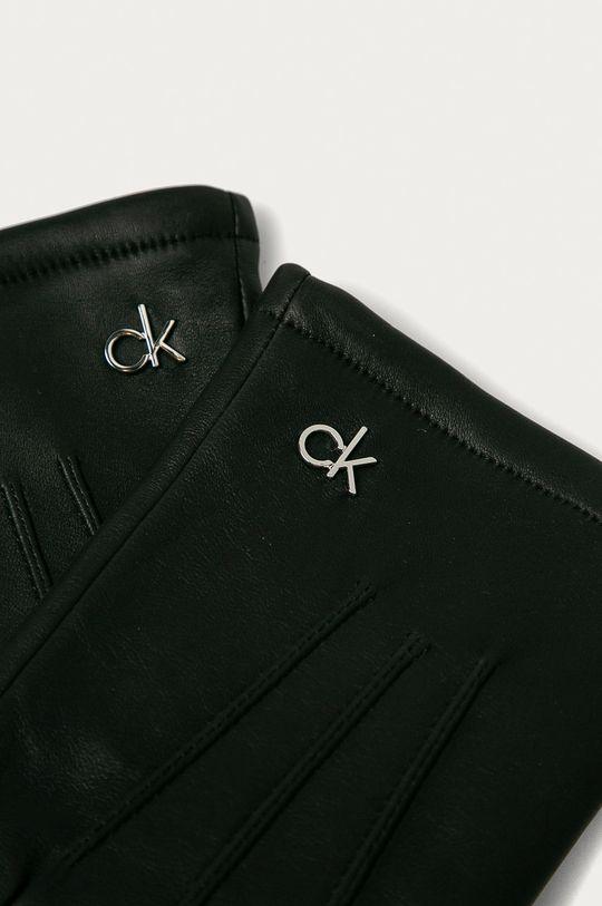 Calvin Klein - Kožené rukavice černá