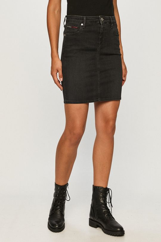 čierna Tommy Jeans - Rifľová sukňa Dámsky