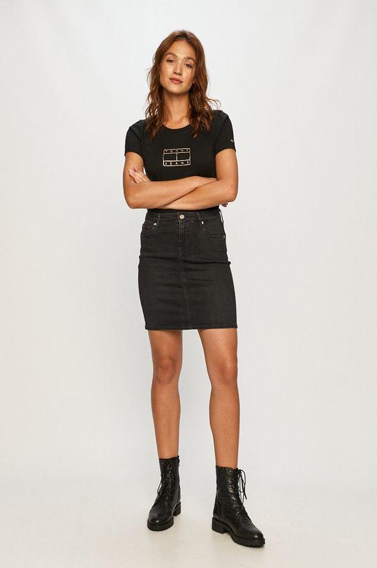 Tommy Jeans - Rifľová sukňa čierna