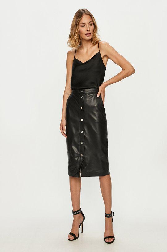 Karl Lagerfeld - Spódnica skórzana czarny