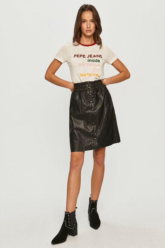Pepe Jeans - Kožená sukně Marie černá