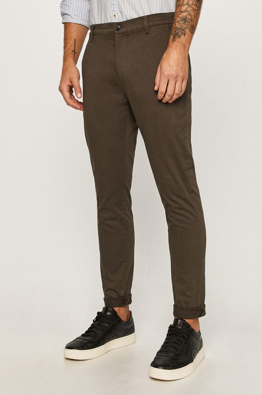 olivová Tailored & Originals - Kalhoty Pánský