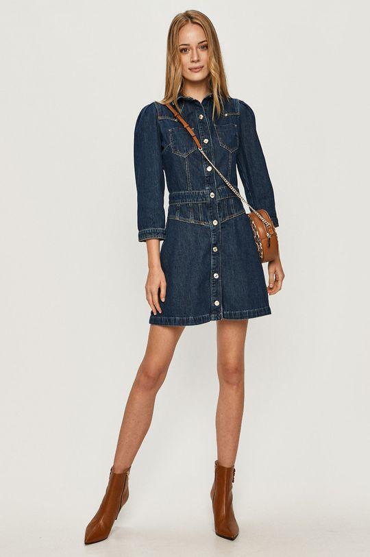 Guess Jeans - Rifľové šaty tmavomodrá