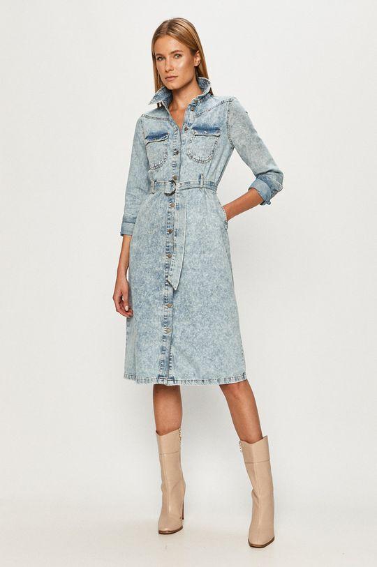 Vero Moda - Rifľové šaty modrá