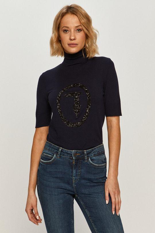 granatowy Trussardi Jeans - Sweter Damski