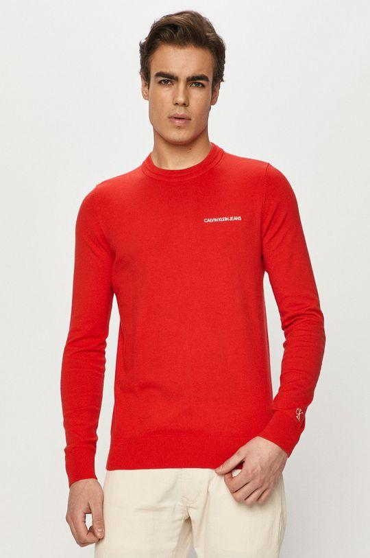 czerwony Calvin Klein Jeans - Sweter Męski